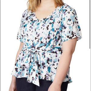 RebelWilson NWT Print woven top, waist tie sz 2X